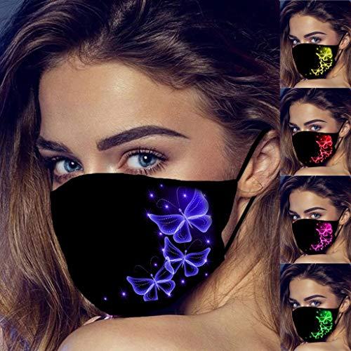 LONGROA 5 Stück Mundschutz für Damen Bunt Atmungsaktive Staubdicht Bandana Nasenschutz Halstuch mit Schmetterling Drucken Mund und Nasenschutz Wiederverwendbar Gesichtsbedeckung