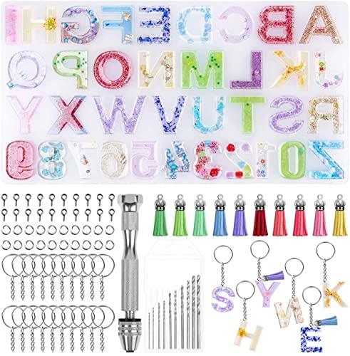 Molde Letras Silicona,Conjunto de 117 Moldes de Silicona Con Alfabeto, Reutilizable Moldes de Resina de Silicona para Llavero, Colgantes,DIY