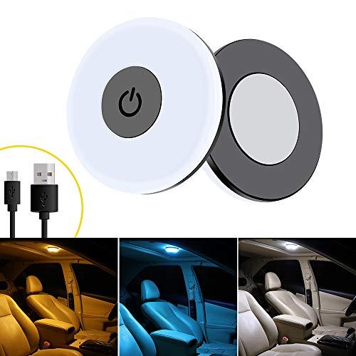 yifengshun Luces LED para Interior de Coche, Carga USB ajustable de tres colores Luces traseras, Luces de Lectura de Coche, Luces de Placa, luz Nocturna, Luces de Puerta(Blanco/azul/blanco cálido)
