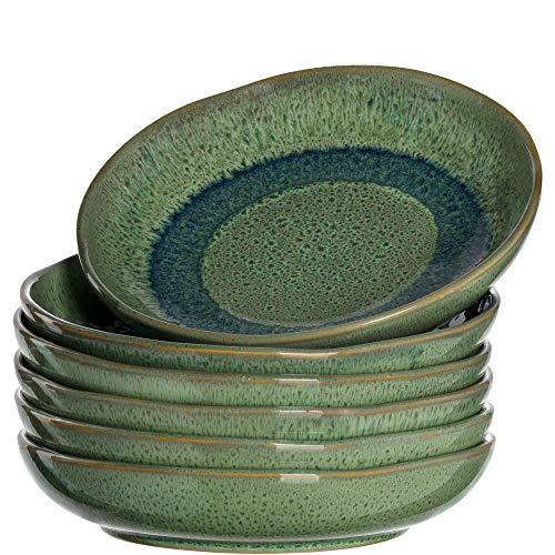 Leonardo Matera tiefe Keramik-Teller, 6-er Set, spülmaschinengeeignete Speise-Teller mit Glasur, 6 runde Steingut-Teller, Ø 20,7 cm grün, 018541