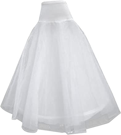 Generic Women's Tulle 2 Layers Ball Gown Petticoat (ST-1188,White,Free Size)