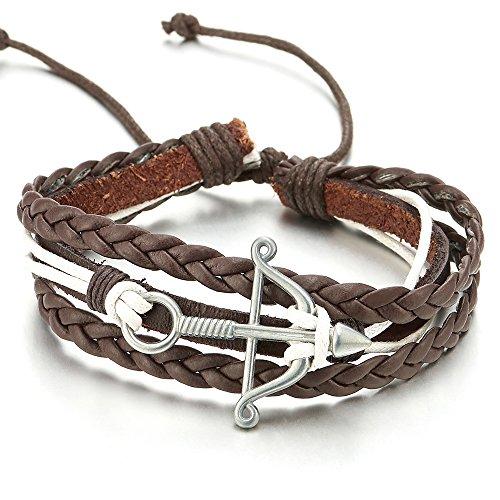 COOLSTEELANDBEYOND Pfeil und Bogen Weiß Baumwolle Braun Geflochtene Leder Armband, Multi-Strang Herren Damen Wickeln um Strap Schweissband