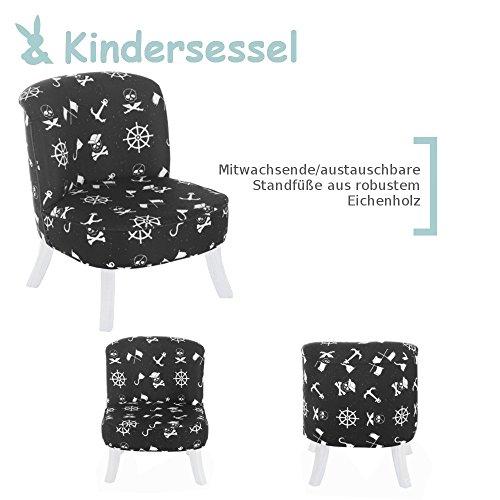 DESIGN Kindersessel im exklusiven Piraten Design | mitwachsend | im Exclusiven Barock Design | Farbe/Muster: Schwarz mit Piratensymbolen | Bein-Farbe: weiß | Sitz-höhe:26/ 34 cm Somebunny FP10