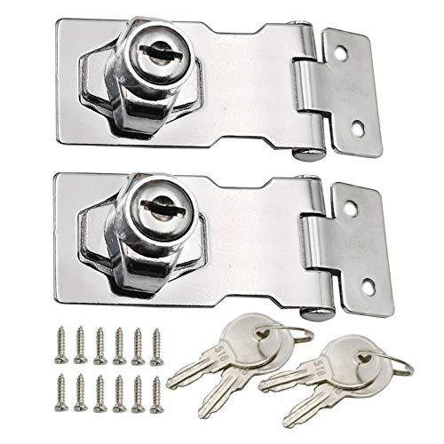 2 Stück Schnalle mit Vorhängeschloss Sicherheits Haspe Türverschluss Sicherheitsüberfalle Abschließbar Tor Verschluss Verriegelung Keyed Hasp Lock Metall Keyed Locking Hasp mit Schlüssel 2,5 Zoll