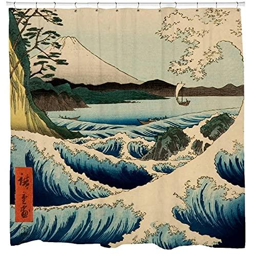 AFDSJJDK Toalla de baño Cortina de Ducha Ocean Waves, decoración de baño con hidromasaje, Arte, Boho, decoración temática de mar