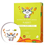SNP Animal Character Korean Face Sheet Mask Skincare, Rabbit Brightening Sheet Masks for Clear & Glowing Skin Results, Korean Beauty Skincare Mask -For All Skin Types, Pack of 10