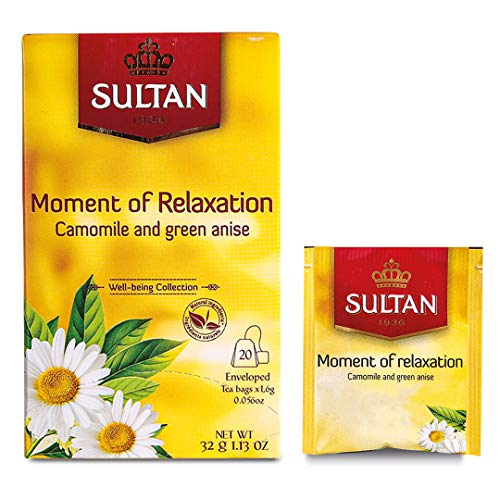 TÉ SULTAN Momento de relajación, té marroquí con manzanilla y tisana orgánica de anís verde (Paquete de 8 - 160 bolsitas de té)