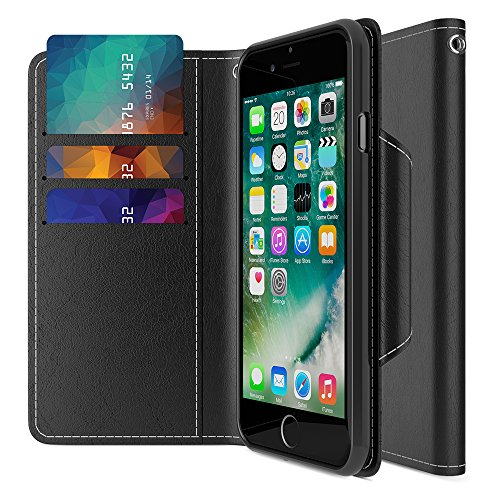iPhone 7 Wallet Case, Maxboost [Folio Style] Premium iPhone 7 Card Cases Stand Feature for Apple iPhone 7 2016 [Black] Protective PU Leather Flip Cover with Card Slot + Side Pocket Magnetic