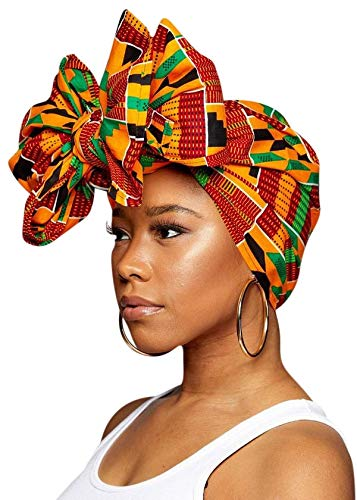 Novarena Long Kente Ankara African Print Headwraps for Women Hair Tie Scarf Turbans Dashiki Head wraps (Kente Green Black and Orange)