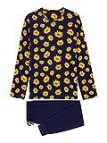 HOM LUBERON Long Sleepwear Juego de Pijama, Haut: Imprimé Tournesol Fond Marine, Bas: Marine Uni, XL para Hombre
