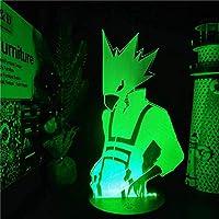 GMYXSW 3Dナイトライトボクの英雄アカデミアトキヨミFumikage 3D LEDアニメライトマイヒーローアカデミアナイトライトLampara