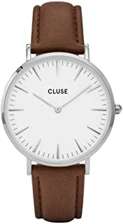 CLUSE La Bohème Round 38mm Silver Analog Display Quartz Women's Watch, Leather Band