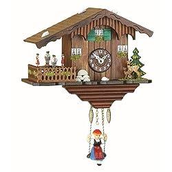 Trenkle Kuckulino Black Forest Clock Swiss House with Quartz Movement and Cuckoo Chime, Turning Dancers TU 2019 SQ