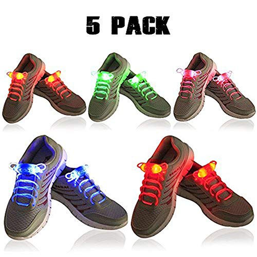 2win2buy 2win2buy 5X LED Schnürsenkel, Leuchtende Schuhbänder 5 Farben 3 Lichtmodi Blinkend Flash Leucht Schuhband für Party Tanz Radsport Klub Disco Joggen Konzert Geburtstag Geschenk