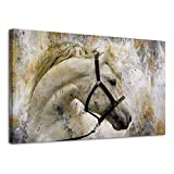 BYXART Horses Wall Art Canvas Prints Home Decor Artwork Moder Abstract Animal Painting Pictures Framed Wall Art for Living Room Home Decoration Ready to Hang (Grey, 24x36in)