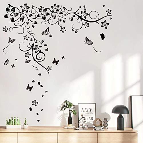Runtoo Pegatinas de Pared Flores Negras Stickers Adhesivos Vinilo Mariposa Decorativas Salon Dormitorio Habitacion Bebe