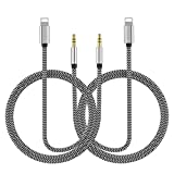 2 Pack Aux Cord for iPhone(Apple MFi Certified),Lightning to 3.5mm Nylon Braided Aux Audio Cord to Car Stereo Cable&Headphone Jack Adapter Compatible with iPhone 11/XR/XS/X/8/8P/7/7P Support iOS 12