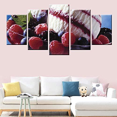 Aardbei ijs fruitschaal kunst aan de muur 5 canvas schilderij restaurant keuken huisdecoratie avant-garde-16x24/32/40inchWith frame