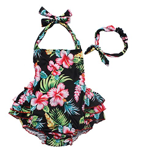 One Piece Redbub Floral Ruffles Rompers Bathing Suits Dress with Headband (Medium,Black)
