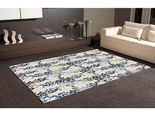 Oedim Blauer und schwarzer Damast-Druck-Teppich-beige Mehrfarben PVC-Hintergrund | 95x120cm | PVC-Teppich | Vinylboden | Dekoration