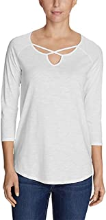 Eddie Bauer Women's Gate Check 3/4-Sleeve Cross-Front Tunic - White - Large