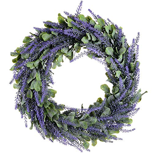ZBSM Artificial Wreath, Door Wreath 17 Inch Lavender Spring Wreath Round Wreath for The Front Door, Home Decor
