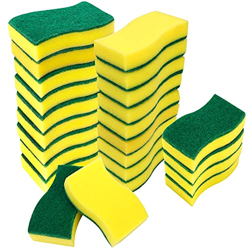 Belle Vous Heavy Duty Cleaning Scrub Sponges (24 Pack) - Non-Scratch Scourer for Kitchen Dishes & Bathroom - Dual-Sided Multi-Use Washing-Up Dish Pad for Effortless Cleaning