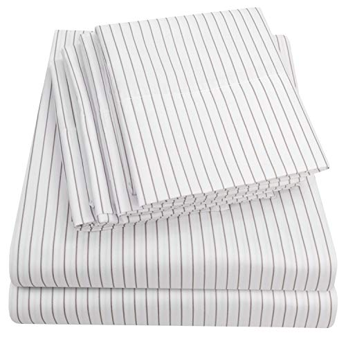 King Size Bed Sheets - 6 Piece 1500 Thread Count Fine Brushed Microfiber Deep Pocket King Sheet Set Bedding - 2 Extra Pillow Cases, Great Value, King, Pinstripe White