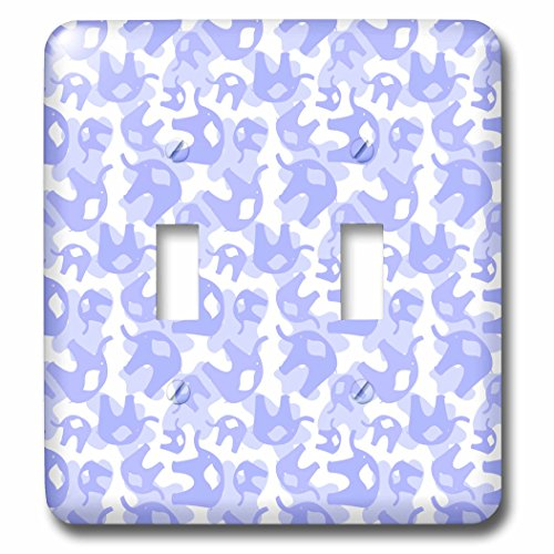 3dRose LLC lsp_53531_2 Double Lavender Elephants, Animals, Whimsical Art for Children, Double Toggle Switch