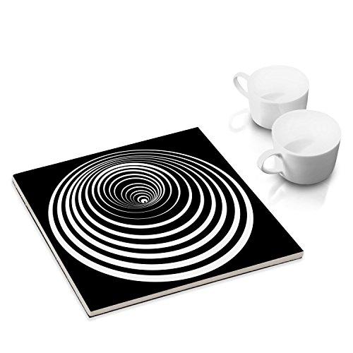 COGNOSCO Sottobicchieri in Ceramica con Feltro per la tavola e la Cucina - 15 x 15 cm - con Progetto Grafico: Kreis 8b, Op-Art
