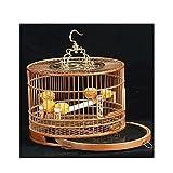 TEAYASON Jaula de Pájaros Portátil para Exteriores, Jaula de Bambú para Vuelo de Pájaros, Jaula de Pájaros Portátil de Viaje Transpirable con Accesorios, Marrón (Color: Marrón)