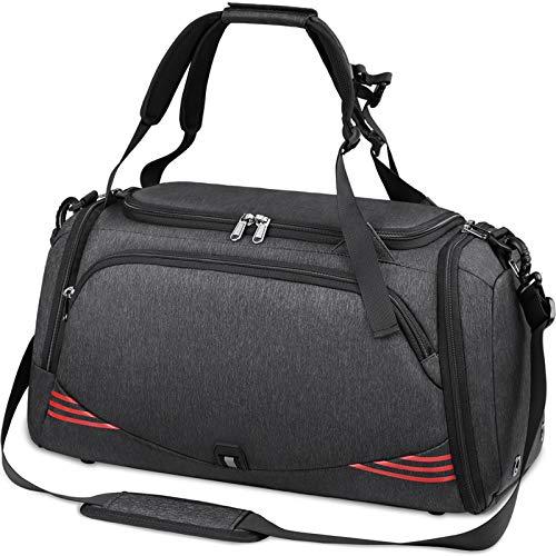 NUBILY Sporttasche für Männer Frauen mit Schuhfach Wasserdicht Reisetasche Weekender Herren Trainingstasche Fitnesstasche Sport Gym Tasche 65 Liter (Schwarz 65L)
