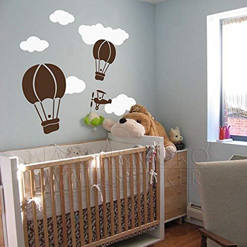 yuandp Muursticker voor heteluchtballon, creatieve ballon, wolken, baby, kleuterschool, doe-het-zelf, vinylstickers voor kinderkamer, gratis boot 90 x 60 cm