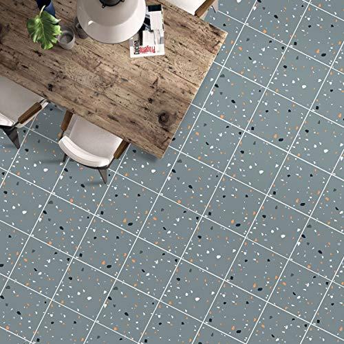 Revestimiento de suelo autoadhesivo de PVC, 60 x 500 cm, vinilo adhesivo de aprox. 3 ㎡/rollo de lámina mate para baldosas, grosor 0,35 mm (azulejo gris)