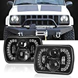 SPL 5x7/7x6 Inch Projector Cree Led Headlights with DRL Cambered Lens for Jeep Wrangler YJ Cherokee XJ H6054 H5054 H6054LL 69822 6052 6053 Toyota Pickup(Dot Approved))