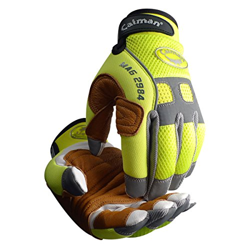 Caiman 2984-5 Rappelling & Rope Handling Glove with Goatskin Palm & Pig Grain Reinforcement Layer, Large