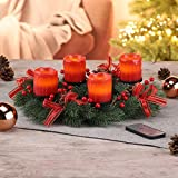 Gravidus dekorativer Adventskranz mit 4 LED Echtwachskerzen und Fernbedienung