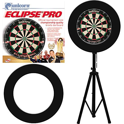Designa Darts Reiseständer Stativ Board Halter + Unicorn Eclipse Dartscheibe + Surround
