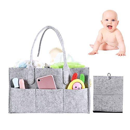 Baby Pañales Caddy Wrap Organizador, portátiles grandes pañales Caddy Tote Auto Bolsa de viaje Guardería pañales Caddy Espacio de almacenamiento nettes regalo para niños recién nacidos, Gris