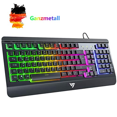 VicTsing Gaming Tastatur USB, Regenbogen beleuchtete Tastatur, Ganzmetallpaneel, QWERTZ Layout, 19 Tasten Anti-Ghosting, Wired Keyboard PC/Laptop, wasserdicht, ideal für Gaming und Büro, Schwarz