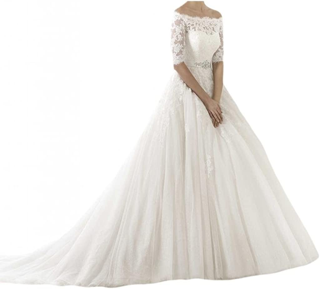 Milano Bride Retro Bridal Wedding Dress Bateau 1 2 Sleeves Ball Gown Floral Lace At Amazon Women S Clothing Store
