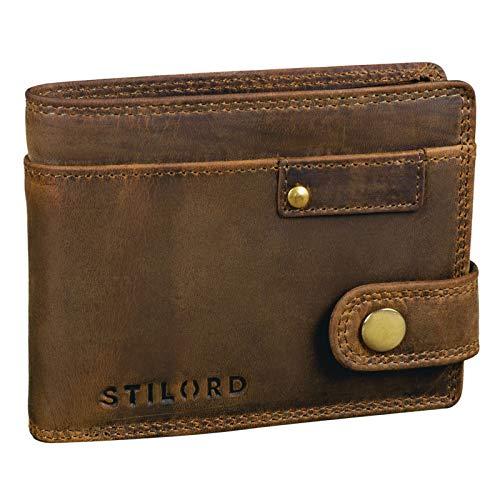 STILORD 'Finley' Leder Geldbörse Herren RFID und NFC Schutz Männer Portemonnaie mit Druckknopf Brieftasche mit Ausleseschutz in Geschenkbox, Farbe:mittel - braun