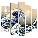 Giallobus - Peinture à Panneaux Multiples 5 pièces - Katsushika Hokusai - La Grande Vague de Kanagawa - Impression sur Bois MDF - prêt à accrocher - 140x100 cm