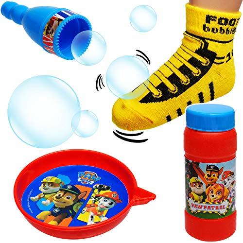 alles-meine.de GmbH 2 * Seifenblasenset - mit Socke - große Fußball Seifenblasen - stabil + Fast unkaputtbar - Paw Patrol - Hunde - Seifenblasenspiel mit Nachfüllflasche - Seifen..