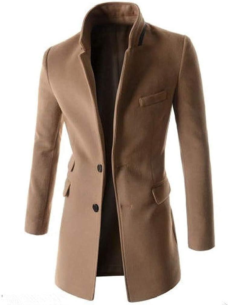 Hhxgcfgyd Men Long Jackets Single-Breasted Mid-Long Wool-Blend Worsted Coat