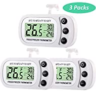 Digital Refrigerator Freezer Thermometer Fridge Room Thermometer Waterproof Cooler Temperature Thermometer with Max Min Record Function Large LCD Display (3)