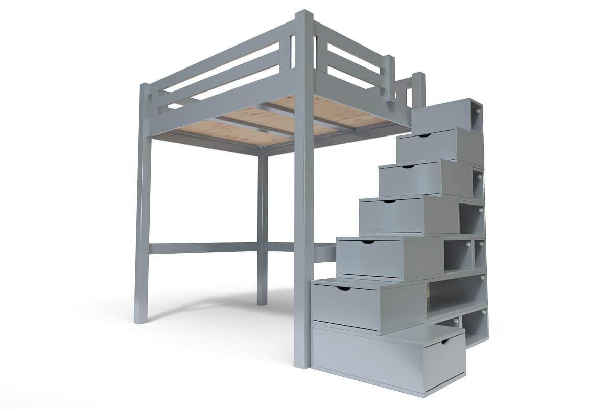 ABC MEUBLES - Cama Alta Alpage con Escalera Cubo - ALPAGCUB - Gris Aluminio, 120x200: Amazon.es: Hogar