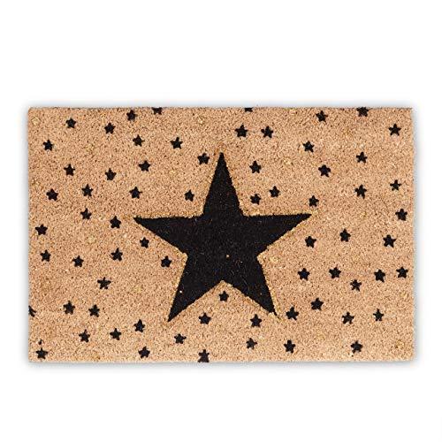 Relaxdays Fußmatte Stern aus Kokos, HBT: 1,5 x 60 x 40 cm, Motiv, rutschfest, rechteckig, Kokosfaser, Gummi, mehrfarbig