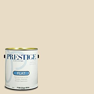 Prestige Paints P100-P-SW6126 Interior Paint and Primer in One, 1-Gallon, Flat, Comparable Match of Sherwin Williams Navajo, 1 Gallon, SW126-Navajo White