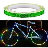 Amaoma Pegatinas Reflectantes para Bicicleta 8M (315'), Cinta Reflectante Adhesiva Etiqueta Engomada del Neumático para Motocicleta Coche Bici de Montaña Ciclismo Casco Mochilas, Verde